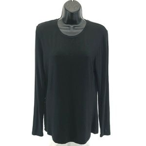 Cuddl Duds Black Long Sleeve Top Womens L Large